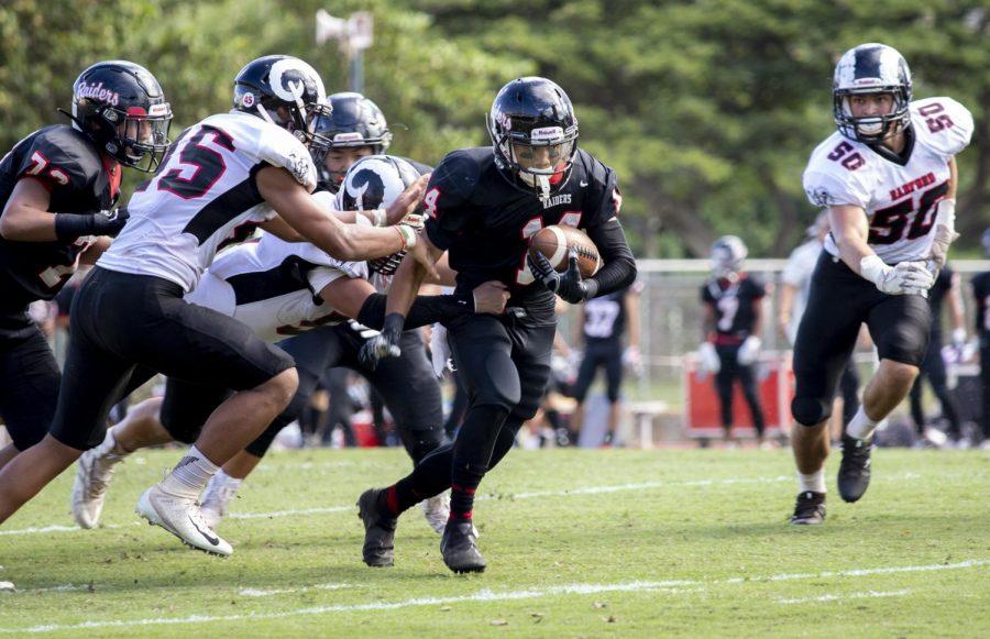 Brody Bantolonia '22 Escapes Radford tacklers.